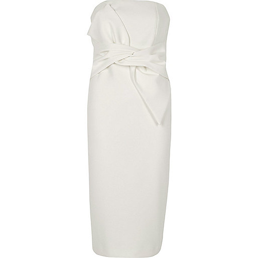 White bow front bandeau bodycon dress