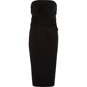 Schwarzes Bandeau-Bodycon-Kleid