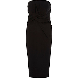 Black bow front bandeau bodycon dress