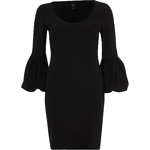 Black long balloon sleeve bodycon midi dress