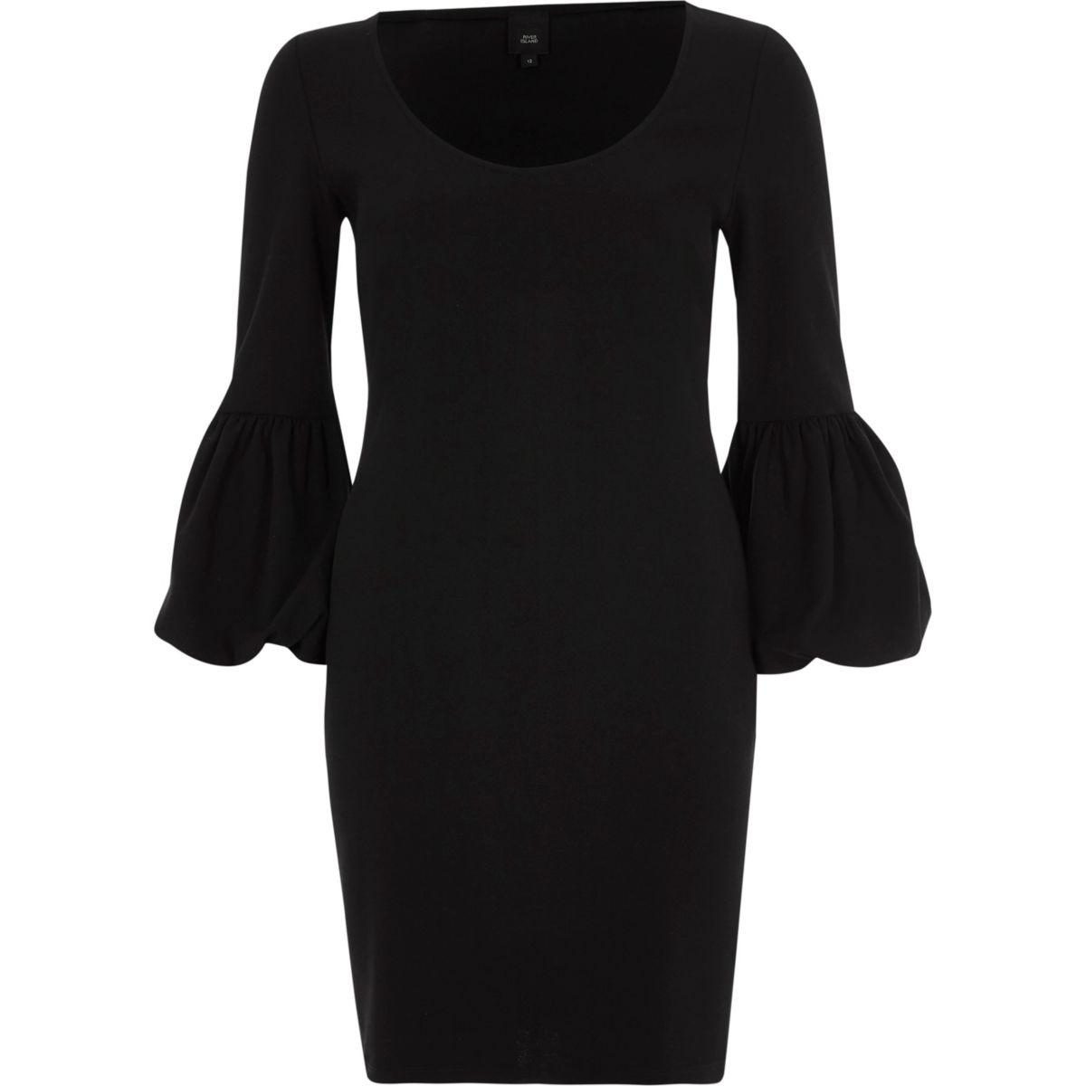 Black long balloon sleeve bodycon midi dress