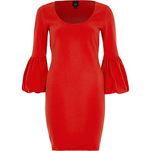 Red long balloon sleeve bodycon midi dress