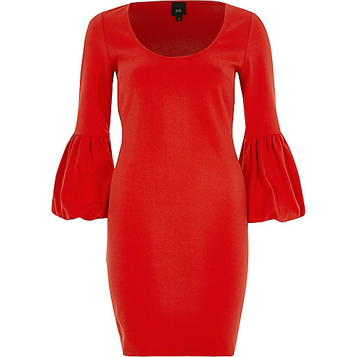 Red long balloon sleeve bodycon midi dress