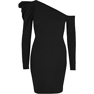 Black one shoulder puff sleeve bodycon dress