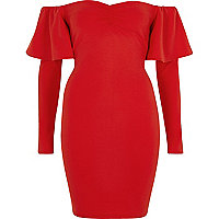Red bardot long sleeve bodycon mini dress