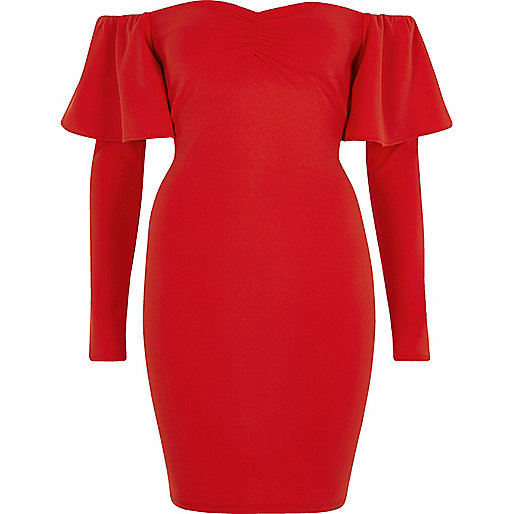 Red bardot long sleeve bodycon mini dress