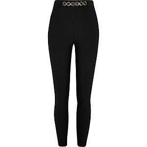 Black chain high waisted skinny trousers