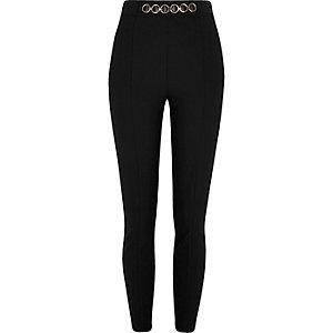 Zwarte skinny broek met hoge taille en ketting