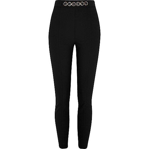 Black chain high waisted skinny pants