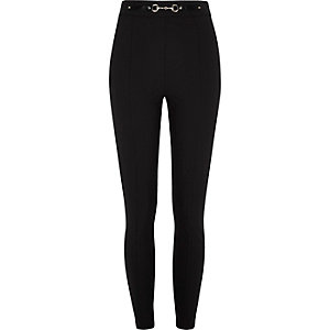 Black snaffle high waisted skinny trousers