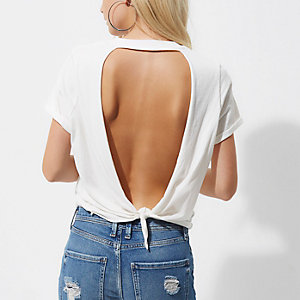 Petite white rose print open back T-shirt