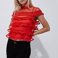 Petite red dobby mesh cap sleeve frill top