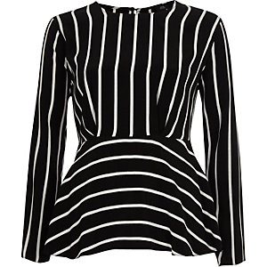 Black stripe frill hem long sleeve blouse