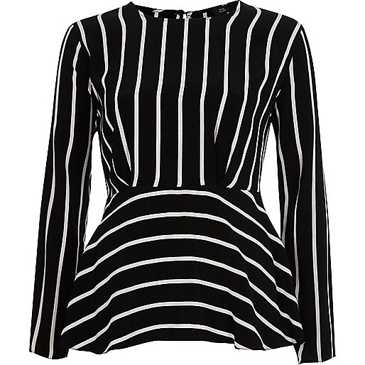 Black stripe frill hem long sleeve blouse