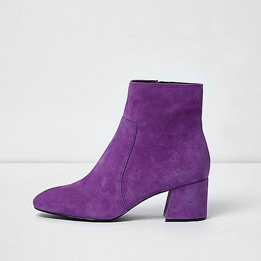 Purple block heel suede ankle boots