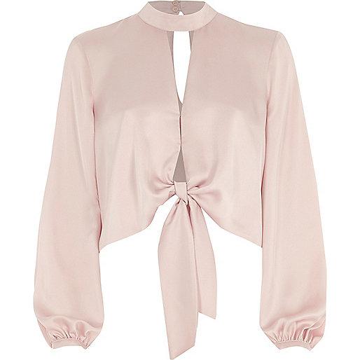Light pink tie front long sleeve crop top
