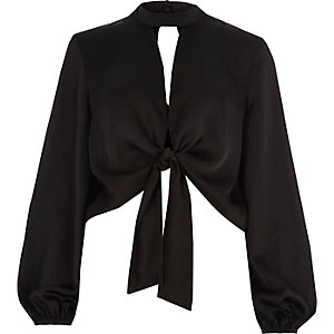 Black satin tie front long sleeve crop top