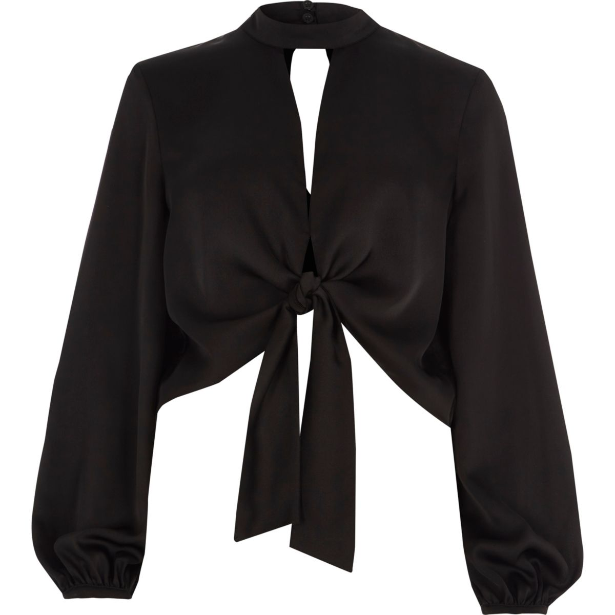 Black satin tie front long sleeve crop top