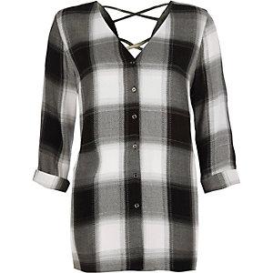 Black check cross back shirt