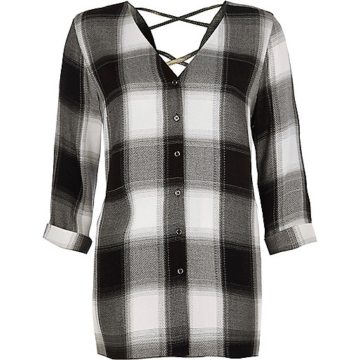Black check cross back shirt