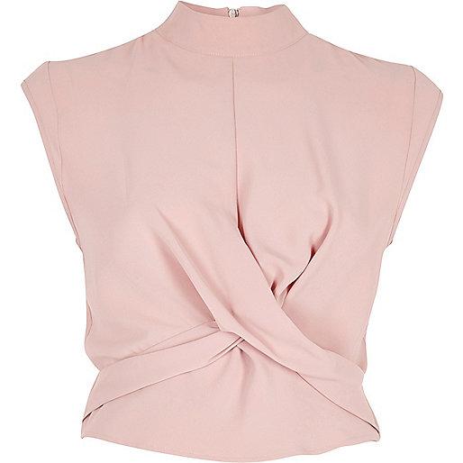 Pink twist front high neck crop top