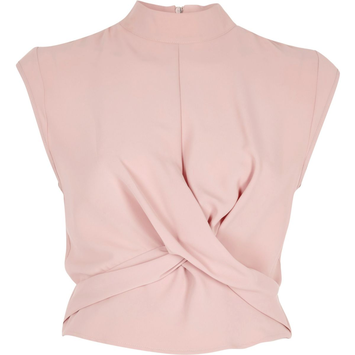Pink twist front high neck crop top