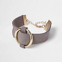 Grey faux suede buckle cuff bracelet