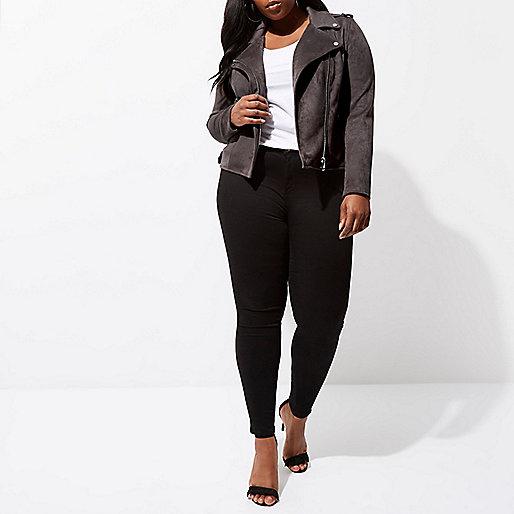 Plus dark grey faux suede biker jacket
