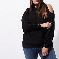 Plus black cold shoulder knit batwing sweater