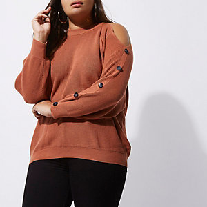 Plus rust pink cold shoulder knit jumper