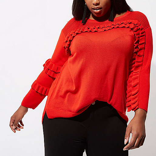 Plus red frill front knit sweater