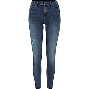 Amelie - Middenblauwe ripped superskinny jeans