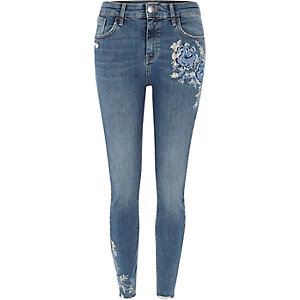 Blue Amelie embroidered super skinny jeans