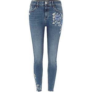 Amelie - Blauwe geborduurde superskinny jeans