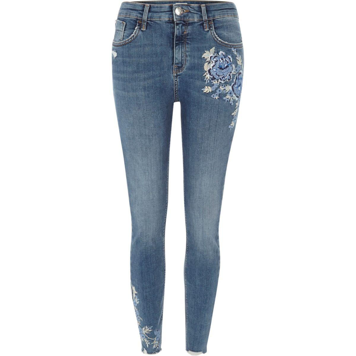 Blue Amelie embroidered super skinny jeans