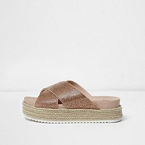 Gold embellished espadrille flatform sandals