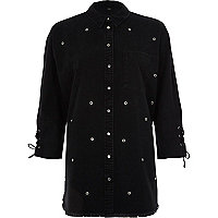 Black eyelet stud lace-up cuff denim shirt