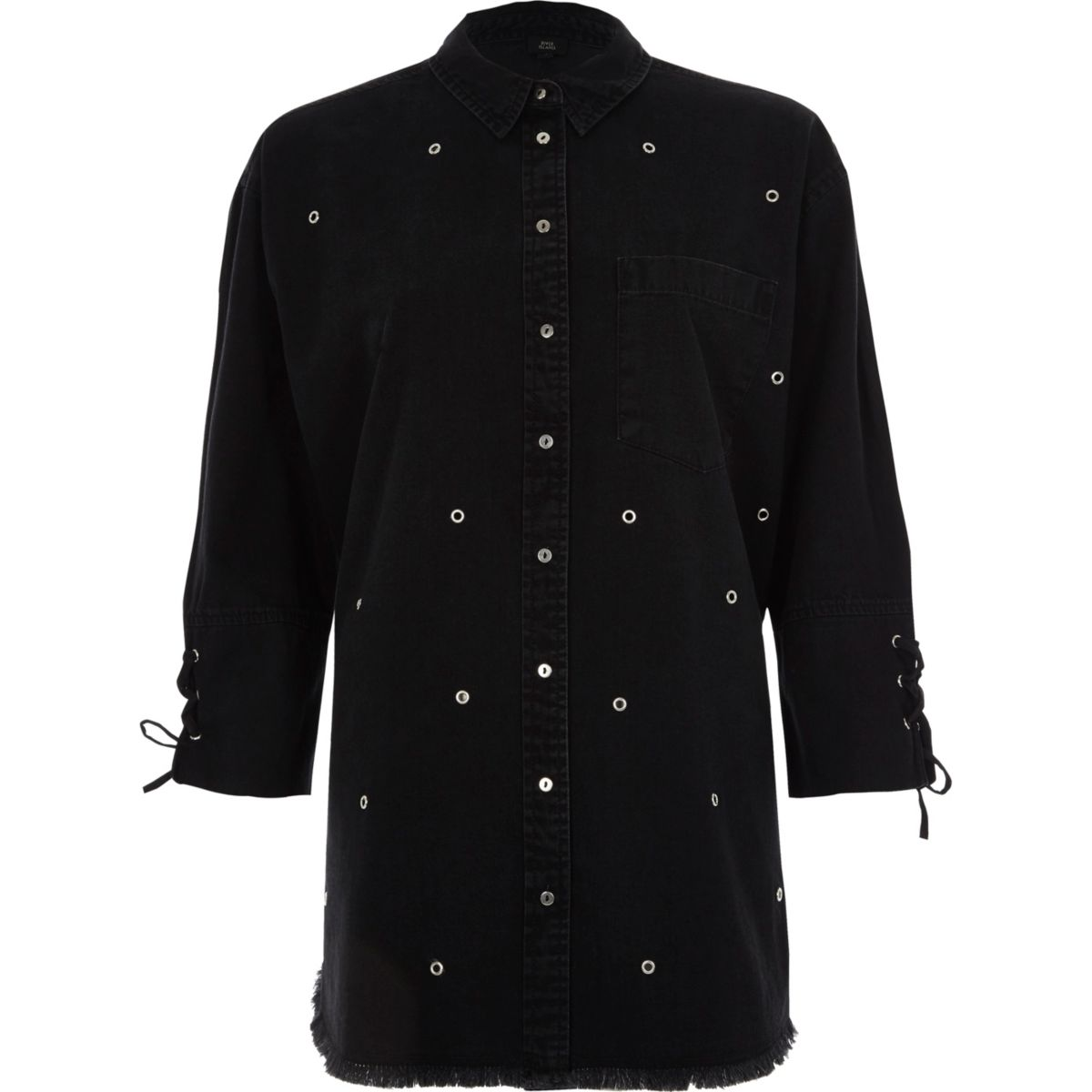 Black eyelet stud lace-up cuff denim shirt