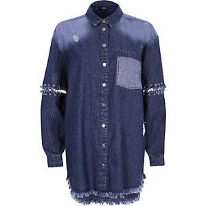 Dark blue split ring sleeve denim shirt