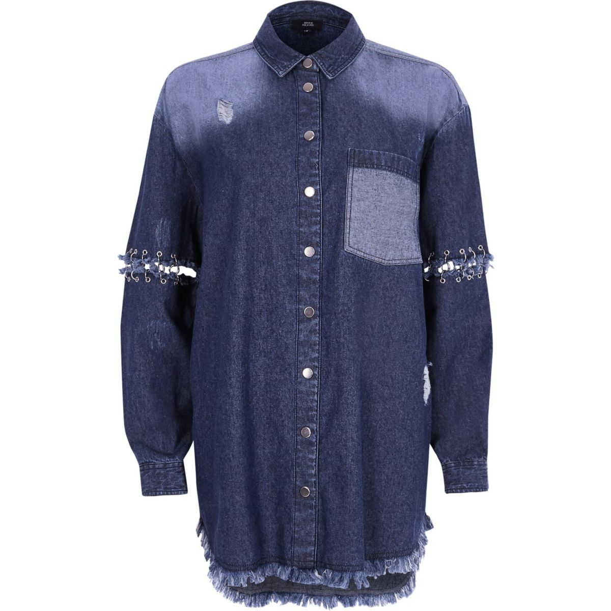 Dark blue split ring sleeve denim shirt