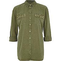 Khaki green eyelet pocket long sleeve shirt