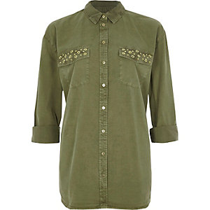 Khaki green eyelet pocket long sleeve shirt