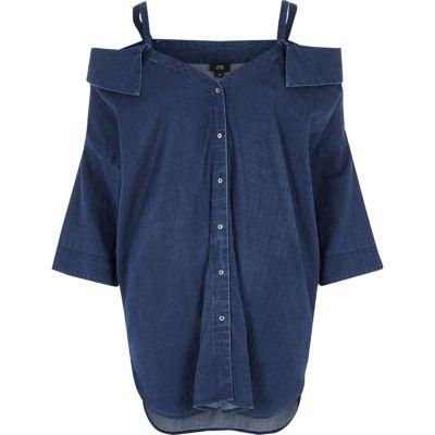 Blauw denim schouderloos overhemd