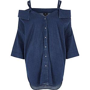 Blue denim cold shoulder shirt