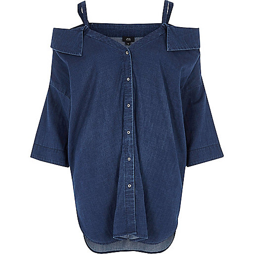 Blue denim cold shoulder shirt
