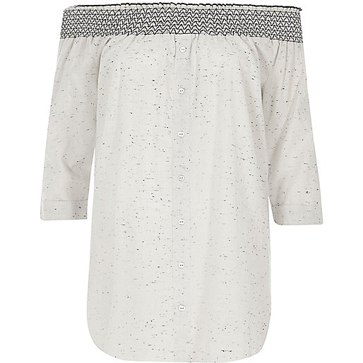 Light grey flecked shirred bardot shirt