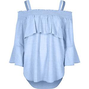 Blue shirred bardot frill top