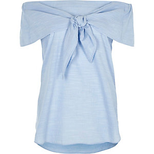 Blue knot front bardot short sleeve top