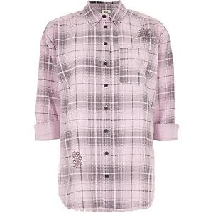 Light pink check long sleeve shirt
