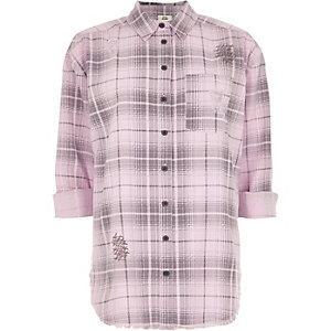 Light pink check long sleeve shirt